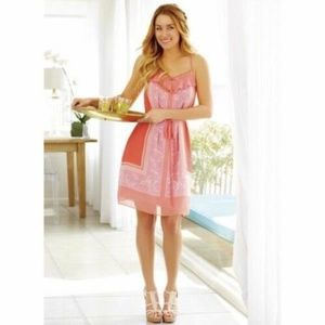 LC Lauren Conrad Pink Ruffle Cut Out Binding Dress